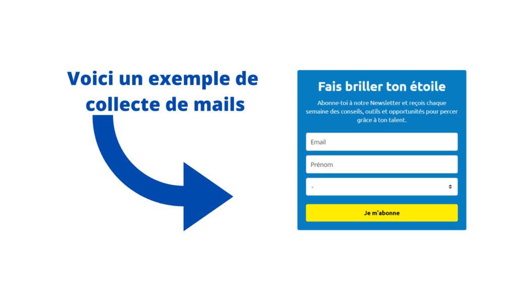 Exemplaire d'un outil de collecte de mail pour un site web qui attire et génère des ventes